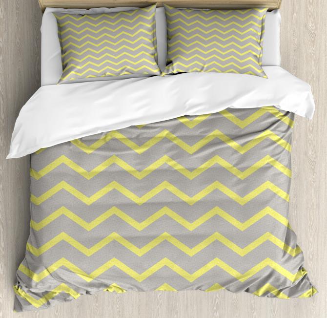 Yellow Grey Zig Zag Duvet Cover Set