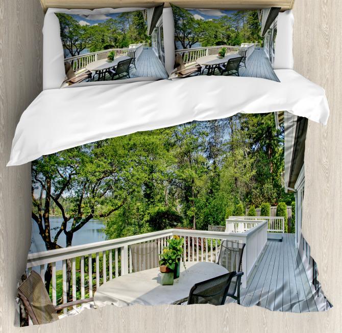 Home Patio Balcony Lake Duvet Cover Set