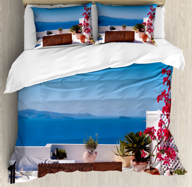 Santorini Aegean Sea Duvet Cover Set