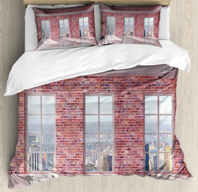 Red Brick Wall Loft City Duvet Cover Set