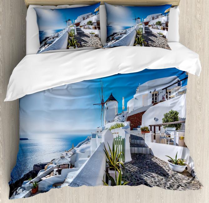 Oia Village in Santorini Duvet Cover Set