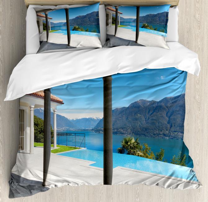 Lake Maggiore Alps View Duvet Cover Set