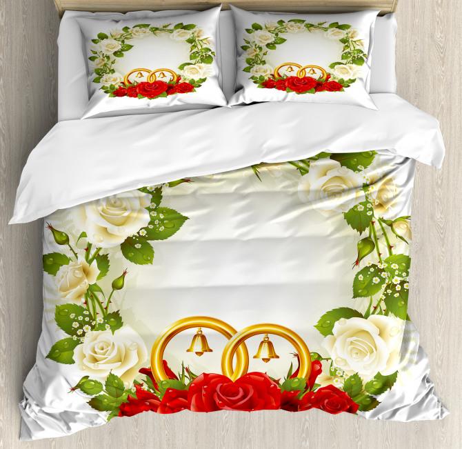 Roses Wedding Rings Duvet Cover Set