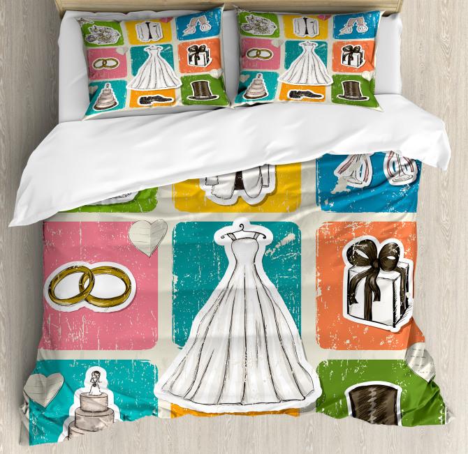 Wedding Theme Poster Duvet Cover Set