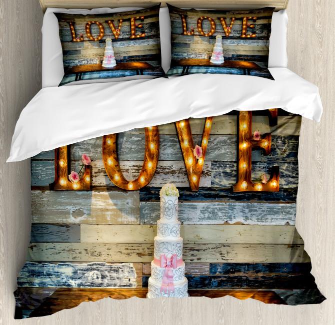 Wedding Cake Love Wood Duvet Cover Set