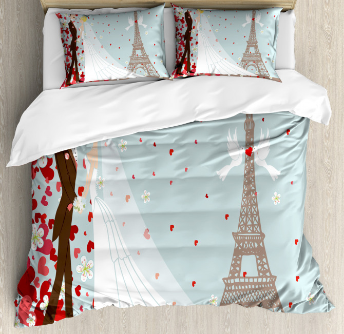 French Couple and Hearts Duvet Cover Set
