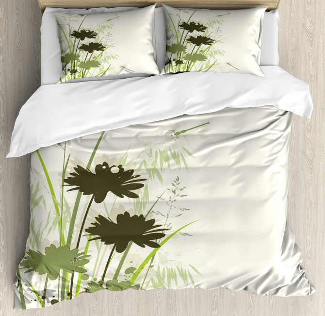 Flowers Leaves Dragonfly Duvet Cover Set