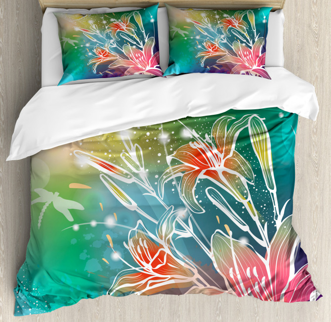 Digital Lilacs Dragonfly Duvet Cover Set