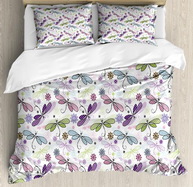 Dragonflies Flowers Duvet Cover Set