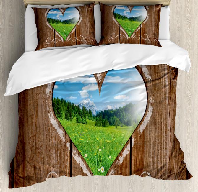 Farm House Chalk Heart Duvet Cover Set