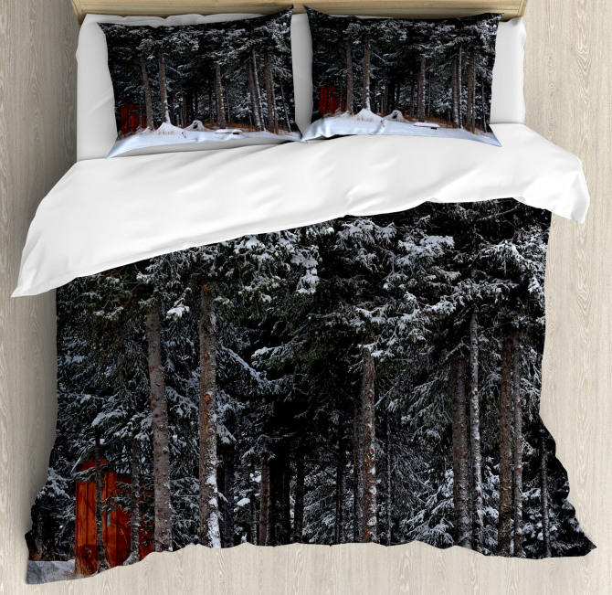 Snowy Forest Cottage Duvet Cover Set