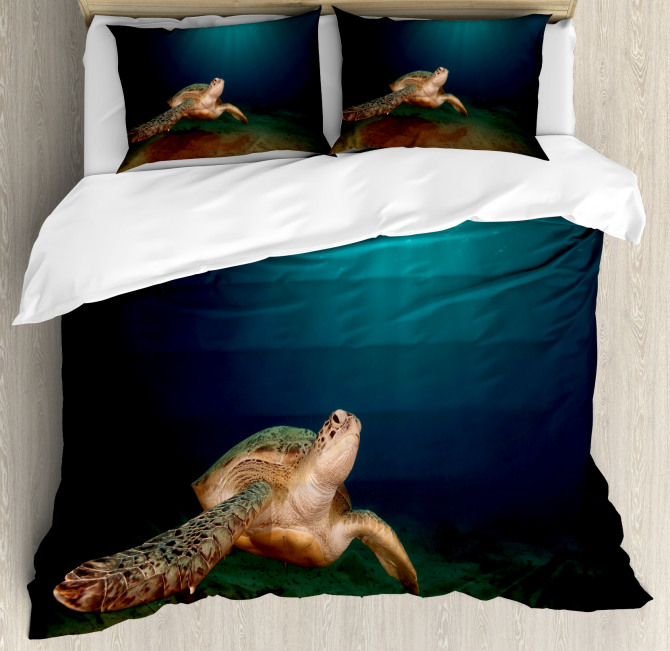 Green Turtle Sunbeam Duvet Cover Set