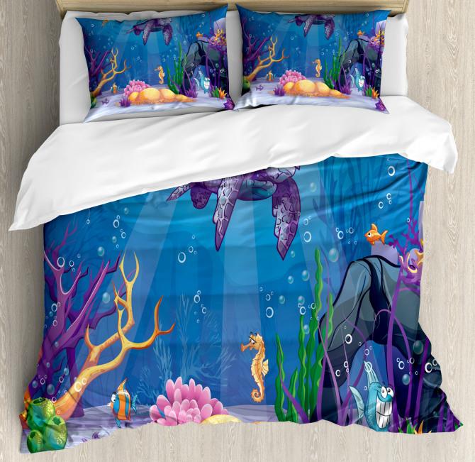 Underwater World Cartoon Duvet Cover Set