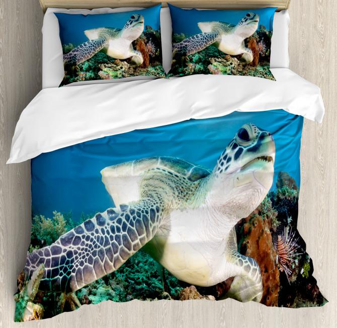 Green Turtle Coral Duvet Cover Set