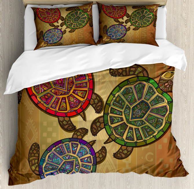 Three Turtles Ornamental Duvet Cover Set