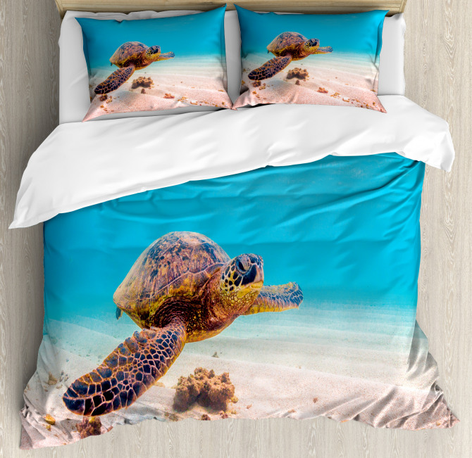 Sea Turtle Underwater Duvet Cover Set
