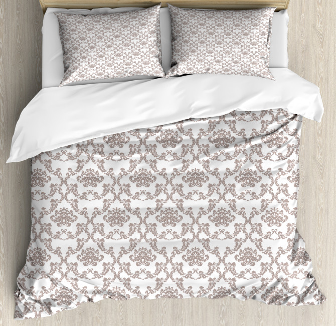 Taupe Colored Damask Duvet Cover Set