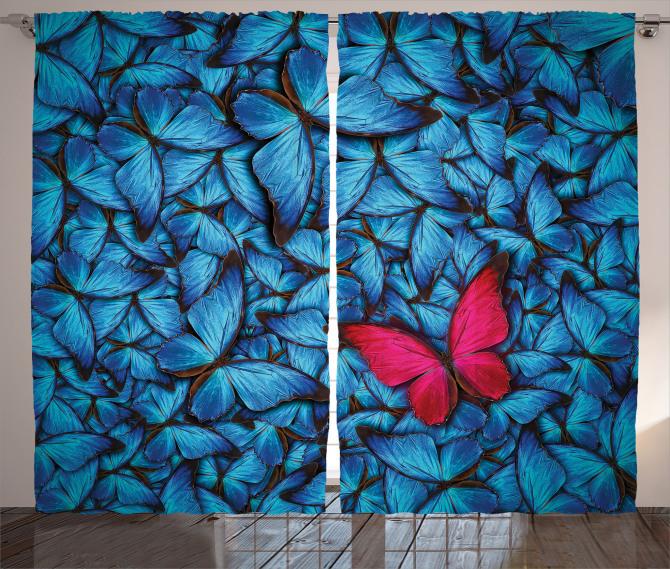 Mavi ve Kırmızı Kelebek Desenli Fon Perde Çeyizlik