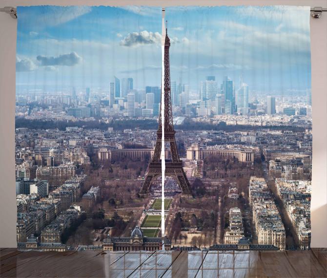 Paris ve Gökyüzü Temalı Fon Perde Şık Tasarım