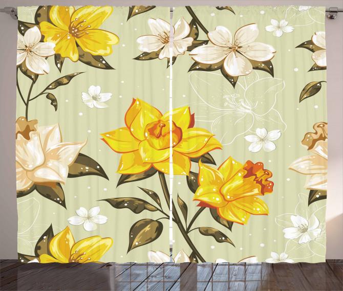 Bahar Çiçekleri Desenli Fon Perde Çeyizlik Trend