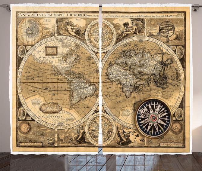 Dünya Haritası Temalı Fon Perde Antika Nostaljik