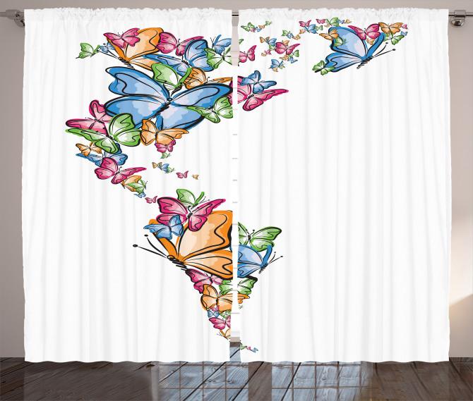 Kelebekler Atlası Fon Perde Rengarenk