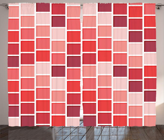 Kırmızı Kareli Fon Perde Geometrik Desenli Şık