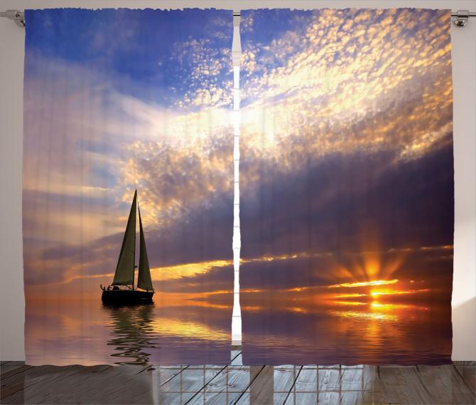 Gün Batımı ve Tekne Temalı Fon Perde Romantik