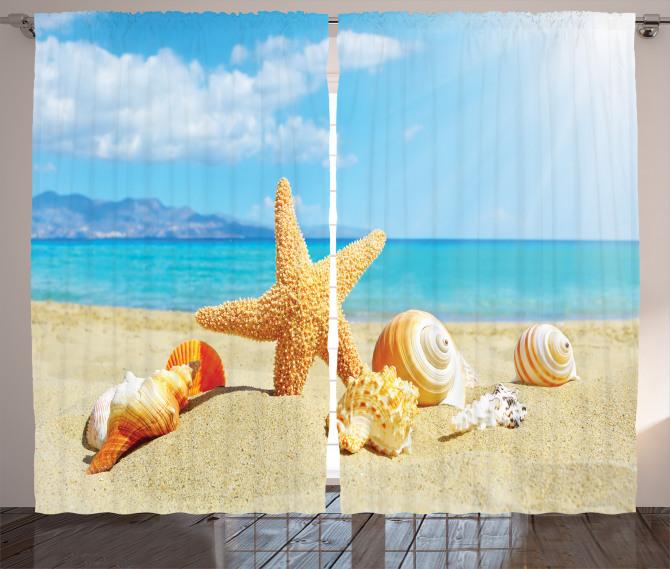 Deniz Yıldızı ve Plaj Fon Perde Bej Mavi
