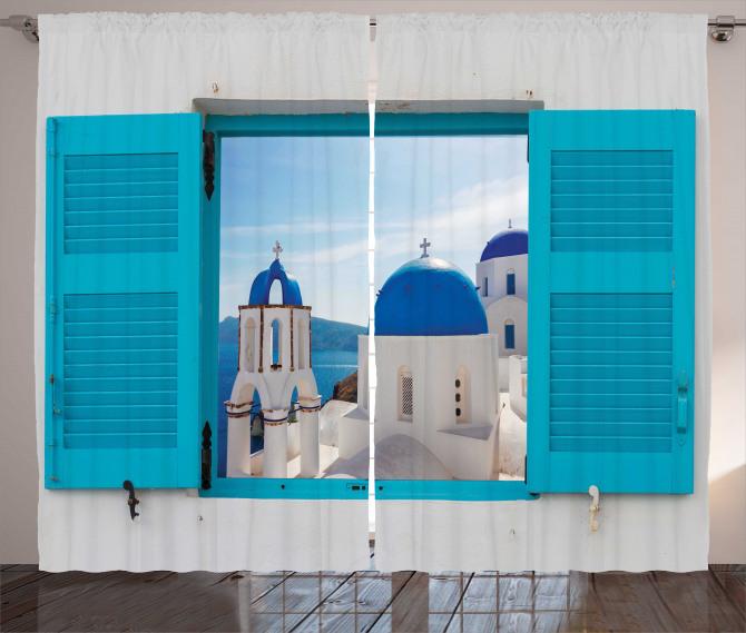 Evde Kilise Manzaralı Fon Perde Beyaz Mavi