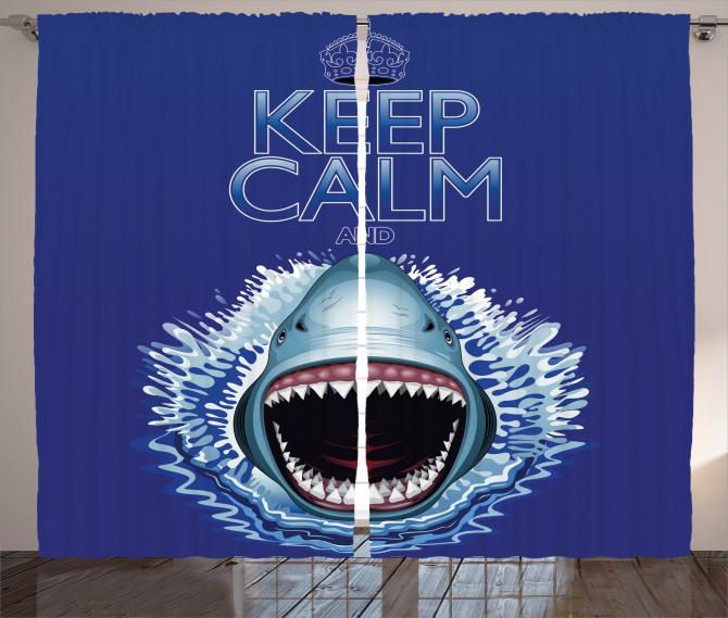 Köpek Balığı ve Dişleri Fon Perde Mavi