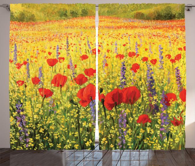 Gelincik ve Kır Çiçeği Fon Perde Sarı