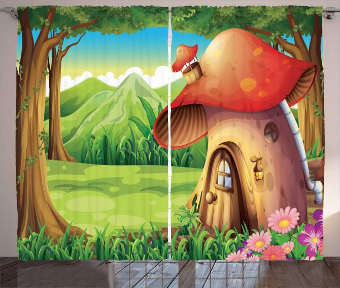 Mantar Ev ve Orman Fon Perde Çocuk İçin