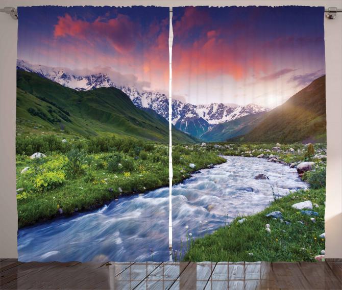 Nehir ve Karlı Dağlar Fon Perde Gökyüzü