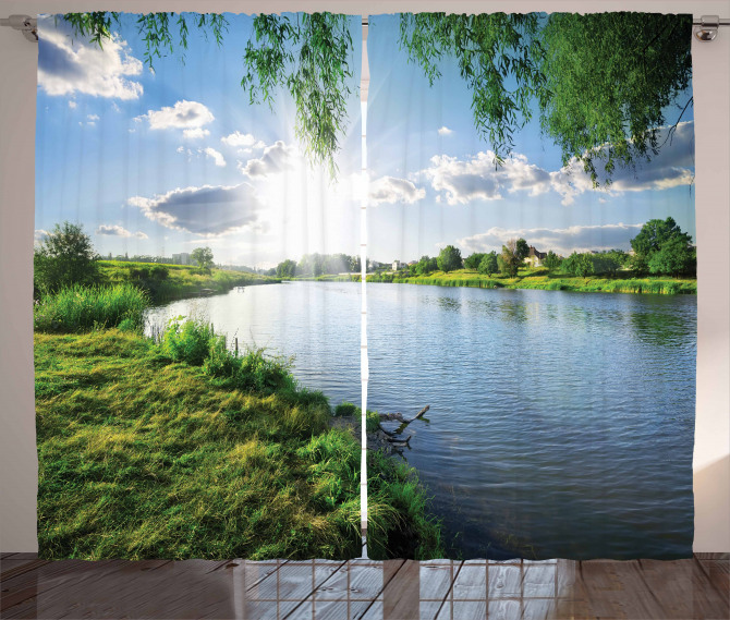 Nehirde Güneşli Bir Gün Fon Perde Bulut