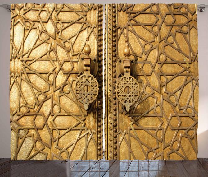 Altın Kapı Manzaralı Fon Perde Antik Arap Etnik