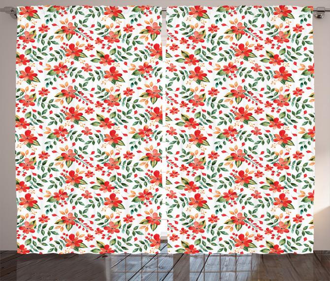 Kırmızı Çiçek Desenli Fon Perde Yaprak Şık Tasarım