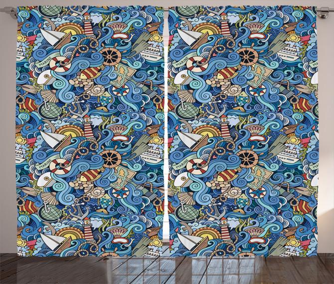 Rengarenk Marin Desenli Fon Perde Şık Balık Deniz
