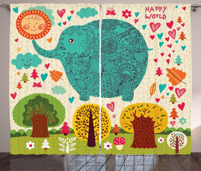 Rengarenk Fil ve Ağaç Fon Perde Çocuklara
