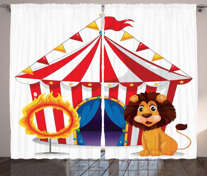 Sirk Aslan ve Ateş Fon Perde Çocuklar İçin