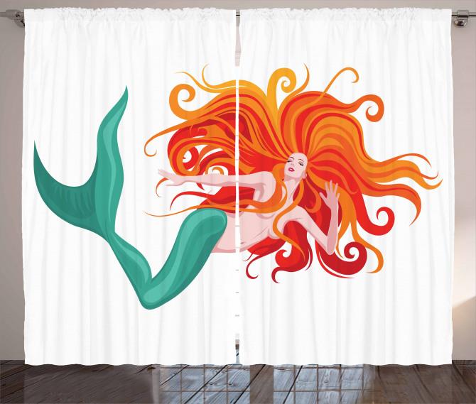 Kızıl Saçlı Deniz Kızı Fon Perde Trend