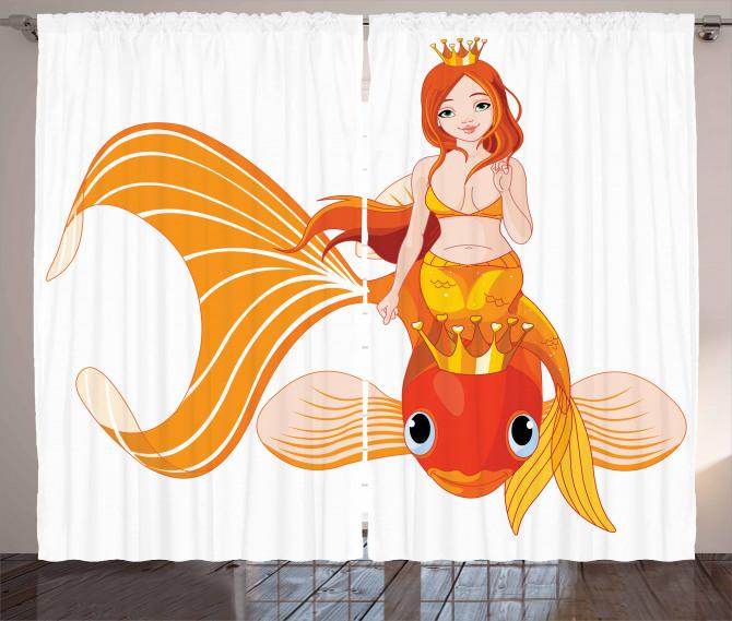 Çizgi Film Fon Perde Deniz Kızı Temalı Balık