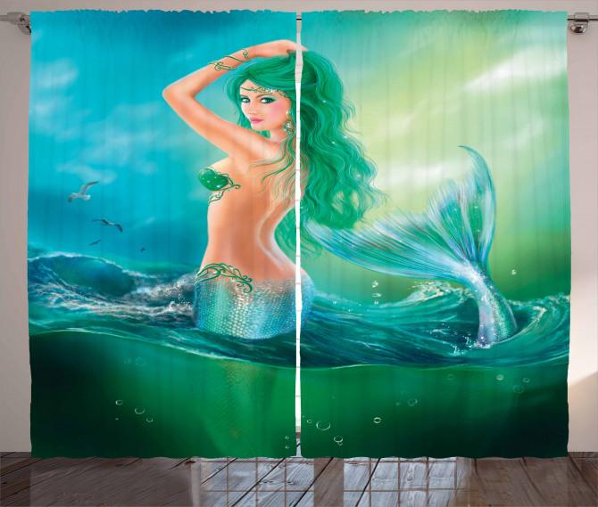 Yeşil Saçlı Deniz Kızı Fon Perde Fantastik