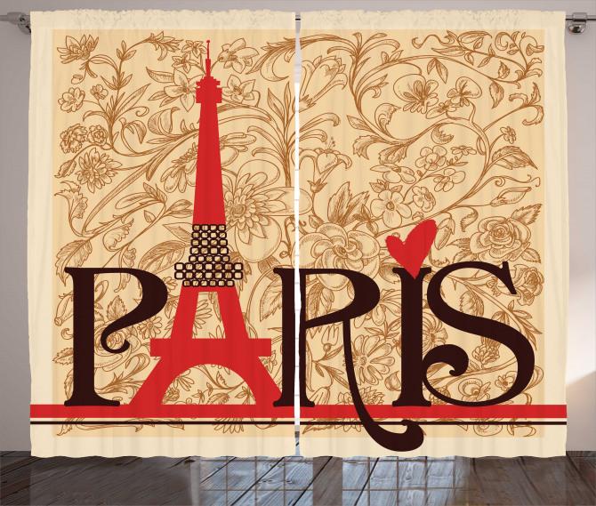 Paris Temalı Fon Perde Nostaljik Şık Tasarım