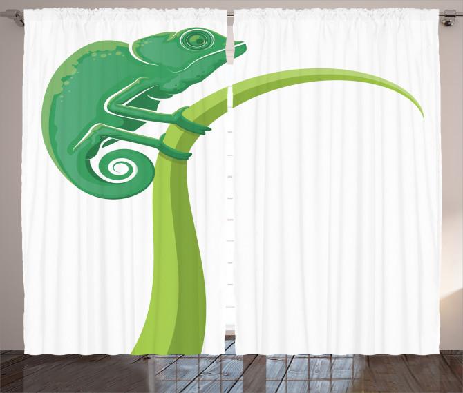 Kertenkele Desenli Fon Perde Yeşil Çocuklara