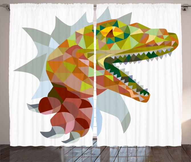 Dinozor Desenli Fon Perde Rengarenk Trend