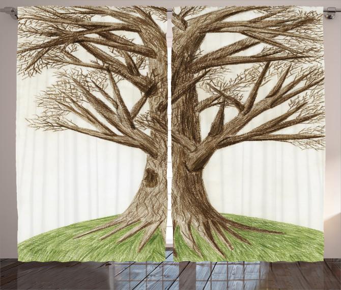 Ağaç Temalı Fon Perde Yeşil Kahverengi Doğa