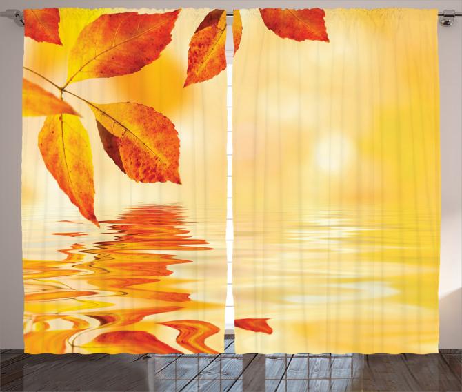 Büyüleyici Güneş Temalı Fon Perde Sonbahar Yaprağı