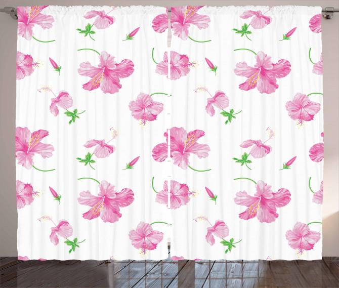 Pembe Çiçek Desenli Fon Perde Şık Tasarım