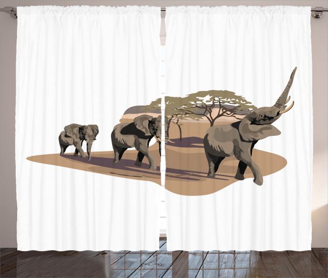 Fil ve Ağaç Desenli Fon Perde Safari Etkili